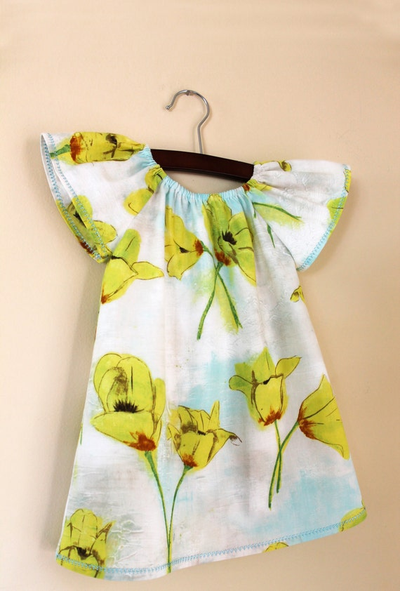 Peasant baby dress blooming tulips in yellow Size 12 - 18 months