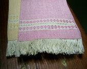 Vintage Matching Pink and Yellow Hand Woven Decorative Towels