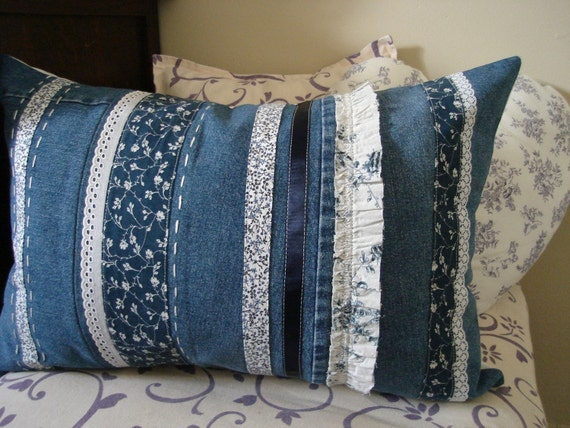 blue and white floral country chic cushion cover