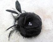 Blair - black hairpiece, wedding accessory, bridal hairpiece, headpiece, black flower, wedding hairpiece