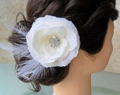 Bridal Hair Flower, Bridal Hairpiece, Wedding Hair Accessory, Wedding Hair Flower,Feathered Fascinator, Bridal Hairclip, Feathered Flower