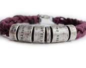 Silver chunky textured bracelet with your own text.