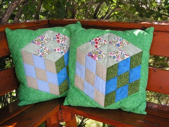 Quilted Cube Pillows in blue and green