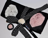 Makeup Brush Roll Holder - Romantic Whimsical Floral Design with Polka Dots ~ High Quality Brush Organizer  ~ Great for Travel