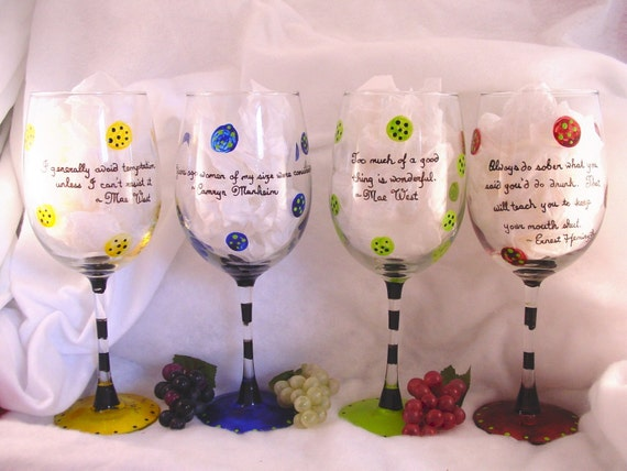 Painted Wine Glasses With Sayings