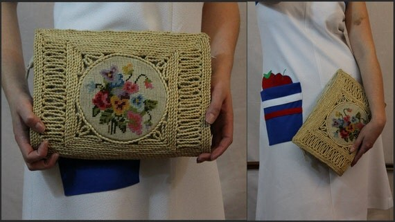 1950s HANDMADE pansy embroidered clutch
