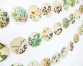Spring bunting, wedding garland, flower bunting, floral garland, paper bunting, recycled banner, wedding decor, Scalloped Garland
