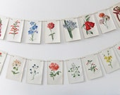 Bunting - upcycled from vintage Familiar Garden Flowers book - Botanical Prints