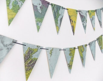 North America Map Bunting - vintage map garland  - Atlas garland, Pennants