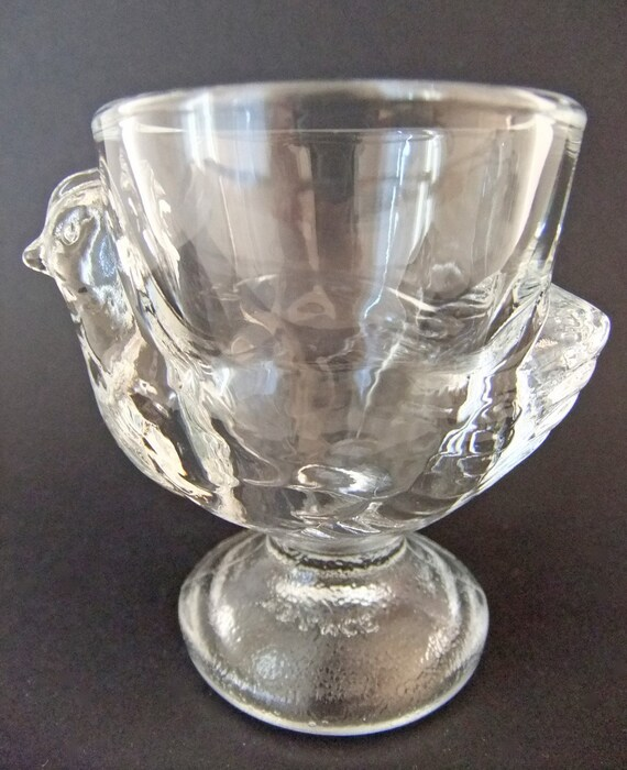 Vintage egg cup - glass egg cup with chick