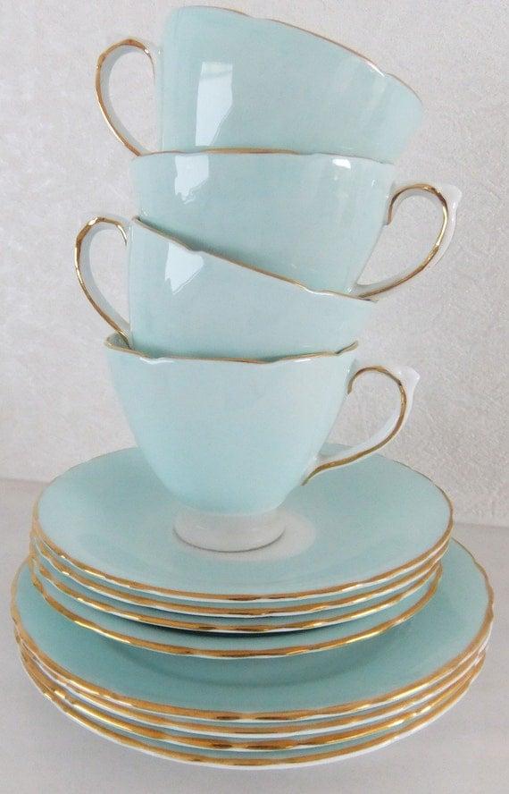 Vintage Delphine Bone China tea set - shabby chic - duck egg blue / aqua