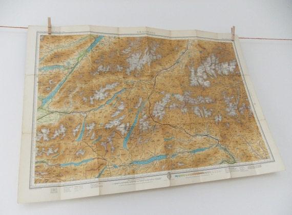 Vintage Map of the Grampians, Scotland 1959