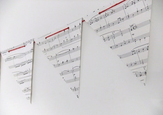 Upcycled Paper Bunting - Vintage Music Bunting