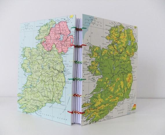Handmade map journal - Ireland map journal