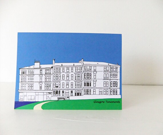 Blank Greeting Card, Glasgow card and envelope, Thank You Card, Note Card, Blank Card, Notelet