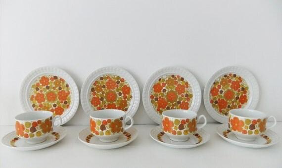 Retro tea set - Pontesa Ironstone Chinamoda, Fantasia pattern, 1970s - orange flowers