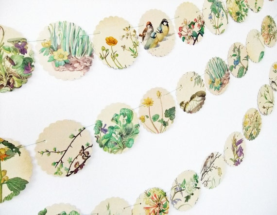 Spring bunting - Scalloped Garland - upcycled bunting - Country Diary of an Edwardian Lady - recycled banner - wedding decor