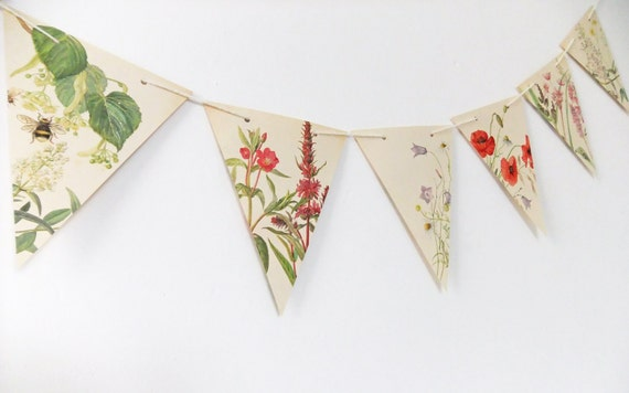 Spring and Summer Paper Bunting - recycled from the Country Diary of an Edwardian Lady