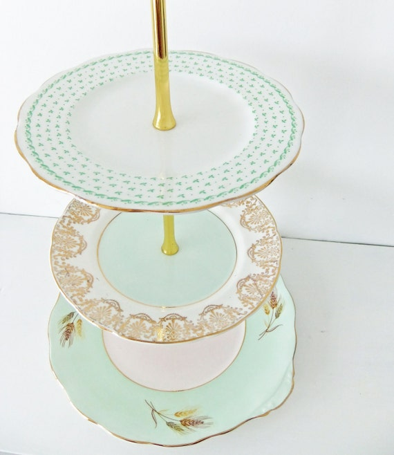 Mint Tiered Cake Stand - Vintage China 3 tier Cake stand, tiered Cupcake stand - fabulous for a wedding, birthday, shower and afternoon tea