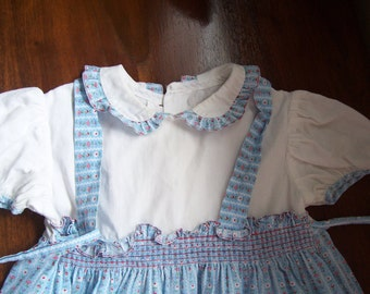 Little girls 1940s vintage cotton feedsack dress size 12 months baby toddler