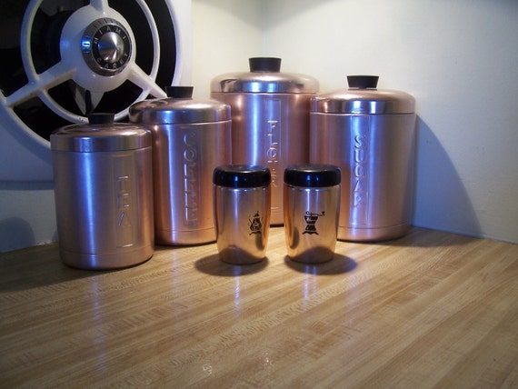 1950s Vintage Copper Kromex Canister set 12 pcs with salt and pepper shakers