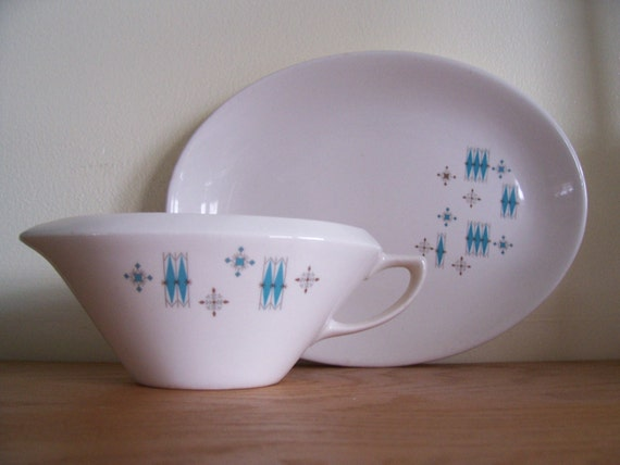 Vintage 1950s Blue Moderne by Sabin MCM Atomic turquoise china gravy boat and serving plate