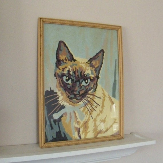 Vintage Paint by Numbers Kitty Cat Framed