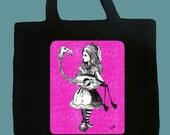 Alice in Wonderland medium canvas tote- Alice's Flamingo, Tim Burton Inspired, proceeds to Alzheimer's Association