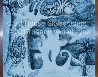 Alice in Wonderland Art, Cheshire cat- framed 8 x 10 print, Tim Burton Inspired, proceeds to Alzheimer's Association