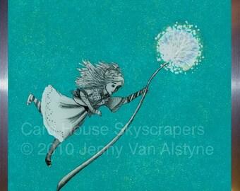 Alice in Wonderland Art, Alice - Holding On - framed 8 x 10 print, Tim Burton Inspired, proceeds to Alzheimer's Association