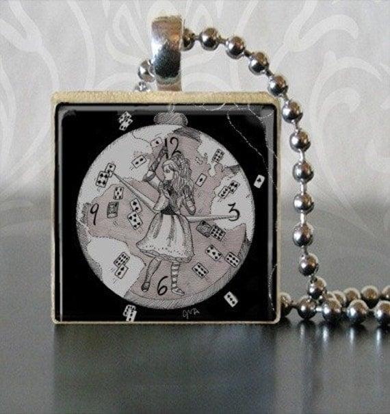 Alice in Wonderland Jewelry Scrabble Tile pendant- Mad World Alice Tim Burton Inspired, proceeds to Alzheimer's Association