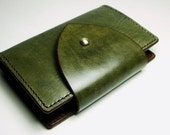 Leather iPhone (2G/3G/4G) Wallet / Portfolio - Handmade and Hand Stitched  - Brown and Olive