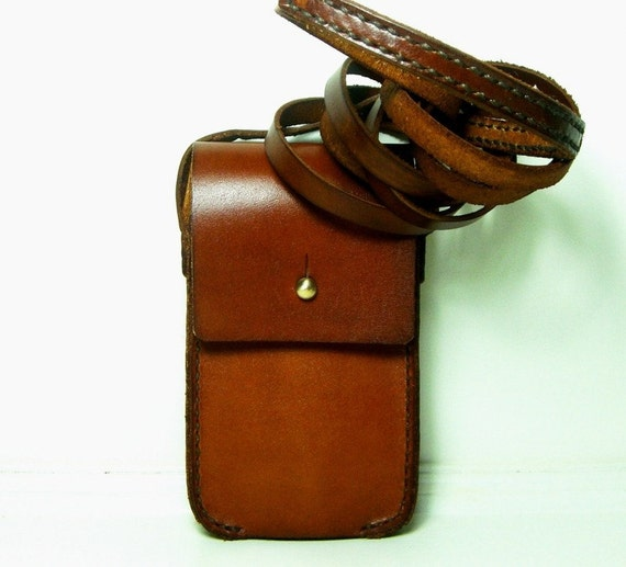 Brown Leather iPhone 2G/3G/4G Case with Shoulder Strap by