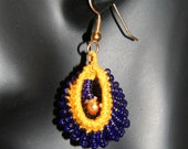 Gold and Navy Knitted-Hoop Earrings - 0450