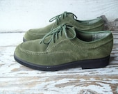 Green Suede Shoes Womens Size 5 Vintage Hush Puppies