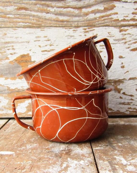 Vintage Enamel Cups FREE SHIPPING