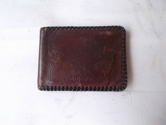 Vintage Tooled Leather Wallet FREE SHIPING
