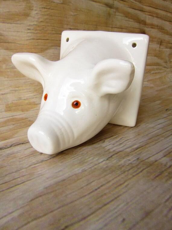 Vintage Ceramic Pig Bust Faux Mount