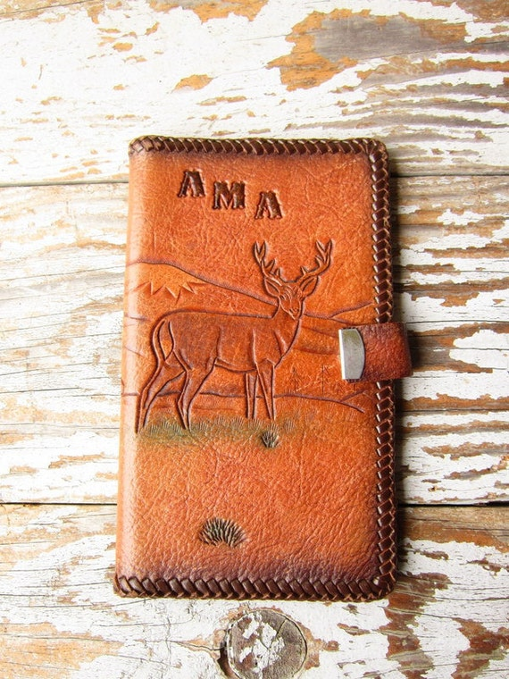 Vintage Tooled Leather Wallet FREE SHIPPING