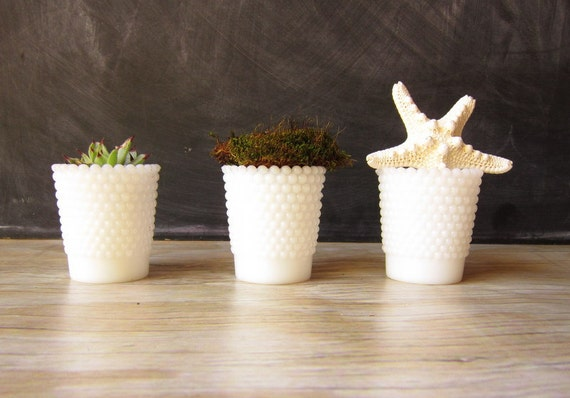 Hobnail Milk glass Votive Candle Holders Set of Three