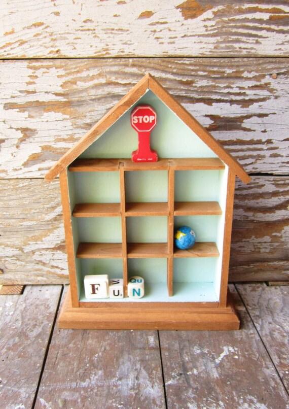Vintage Wooden House Display Shelf - Shadow Box