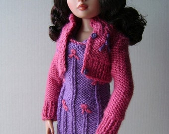 9. French and english knitting pattern PDF - Dress and jacket for Ellowyne