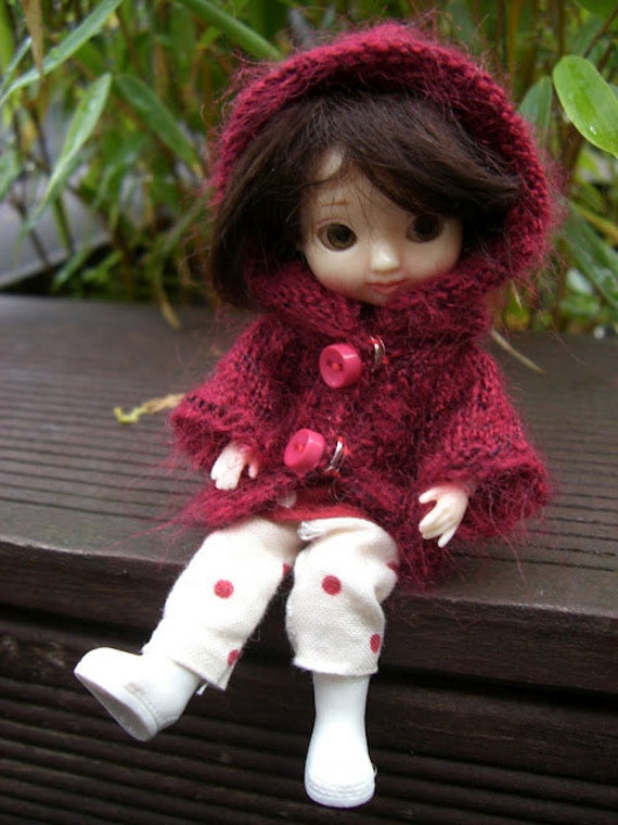 58. French and english knitting pattern PDF - Long jacket for Amelia Thimble BJD doll by Tonner