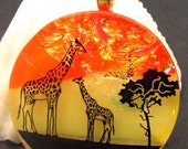 Giraffe's Dichroic Fused Glass Necklace, Pendant, Jewelry 110133