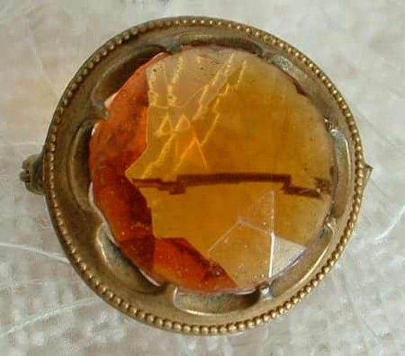 Vintage Early 1900s Amber Glass Brooch Pin Old European Cut Antique Jewelry