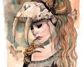 Sabertooth Tiger Skull Masquerade watercolor mask art print Carla Wyzgala carlations