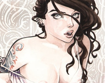 Dragon watercolor TATTOO GIRL Boudoir pin up art print Carla Wyzgala carlations