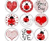 Little Lovebug Ladybug Bottlecap Images 1 Inch Circles-Red Ladybug Bottlecap-Ladybug-Bottlecaps Hairbows Jewelry Magnets INSTANT DOWNLOAD