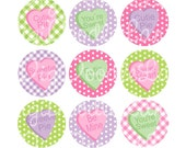 Candy Message Hearts Valentine Bottlecap Images Bottle Cap 1 Inch Circles for Bottlecaps Hairbows Jewelry Magnets and More INSTANT DOWNLOAD