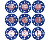 Stars and Stripes Initials Bottlecap Images Bottle Cap Images Patriotic Bottlecaps for Bows Jewelry and More INSTANT DOWNLOAD
